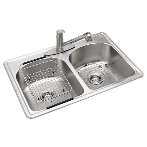 Glacier Bay All-in-One Drop-In Stainless Steel 33 in. 3-Hole Double Bowl Kitchen