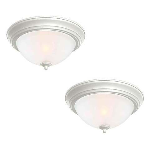 Commercial Electric 13 in. 2-Light White Flush Mount with Frosted Glass Shade (2