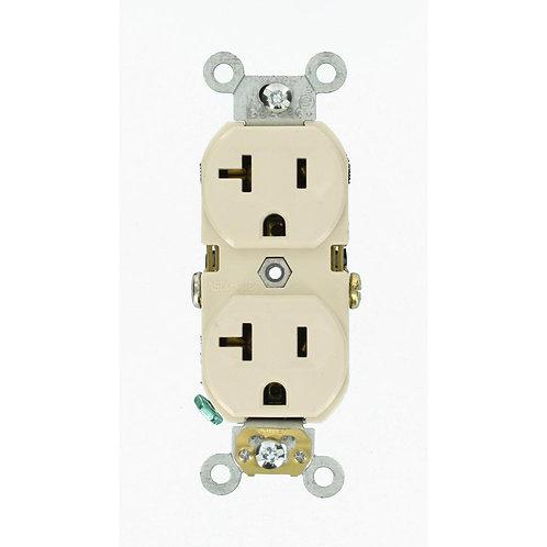 20 Amp Commercial Grade Duplex Outlet, Light Almond