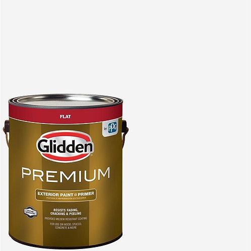 Glidden Premium 1 gal. Flat Base 1 White Exterior Latex Paint