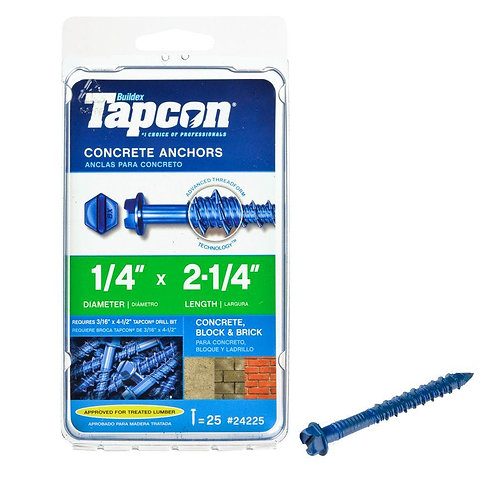 Tapcon 1/4 in. x 2-1/4 in. Hex-Washer-Head Concrete Anchors (25-Pack)