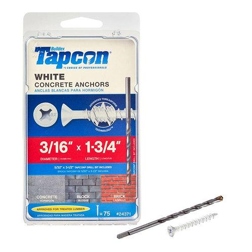 Tapcon 3/16 in. x 1-3/4 in. White UltraShield Phillips Flat-Head Concrete Anchor