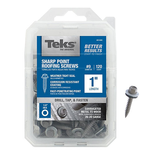 #9 x 1 in. Steel External Hex Head Washer Sharp Point Roofing Screws (120-Pack)