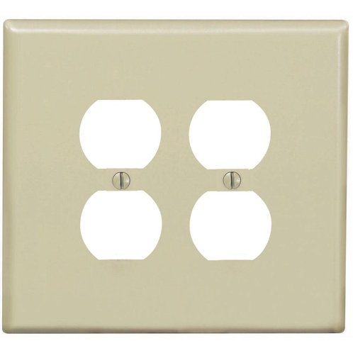 2-Gang Jumbo Duplex Outlet Wall Plate, Ivory