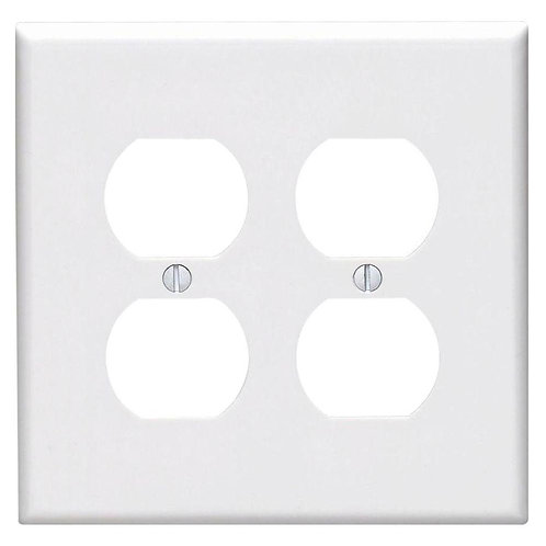 Leviton White 2-Gang Duplex Outlet Wall Plate (1-Pack)