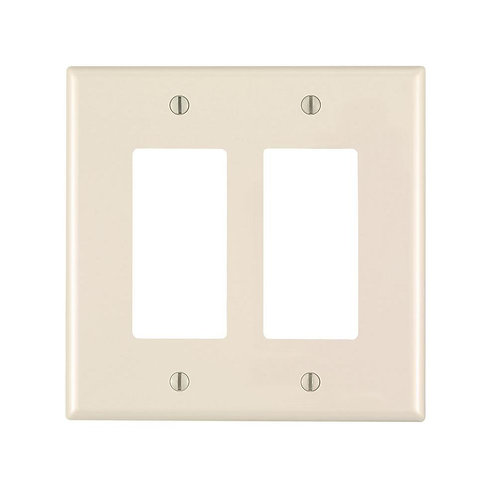 Leviton Decora 2-Gang Midway Nylon Wall Plate, Light Almond