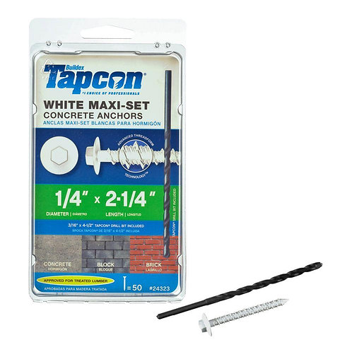 Tapcon 1/4 in. x 2-1/4 in. Maxi-Set White Hex-Head Concrete Anchors (50-Pack)