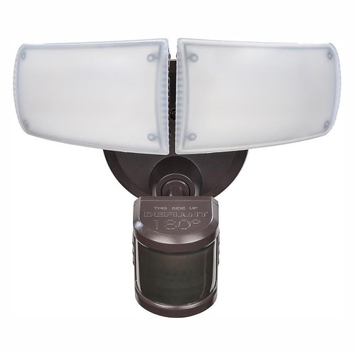 180-Degree Bronze Motion Activated Outdoor Integrated LED Twin Head Flood Ligh