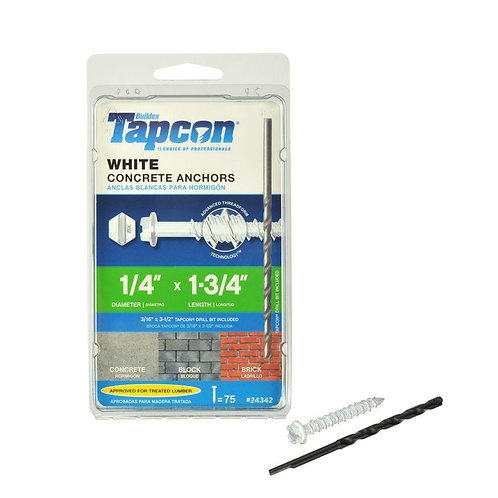 Tapcon 1/4 in. x 1-3/4 in. White UltraShield Hex Washer-Head Concrete Anchors (7