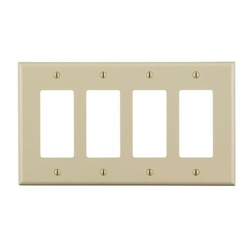 Leviton Decora 4-Gang Midway Nylon Decorator/Rocker Wall Plate - Ivory