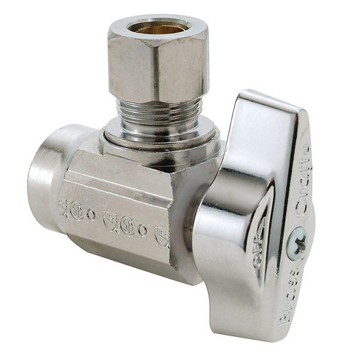 1/2 in. Nominal Sweat Inlet x 3/8 in. O.D. Compression Outlet 1/4-Turn Angle Bal