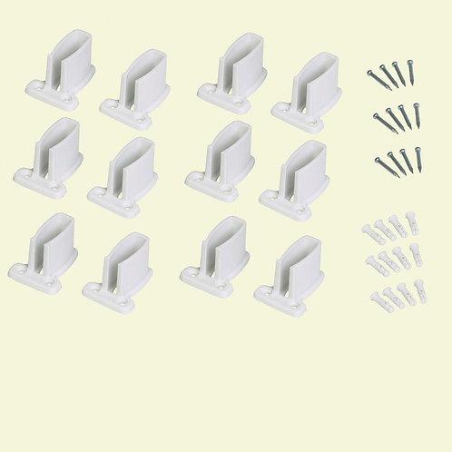 9 in. White Resin Heavy Duty Shelf Bracket for Wire Shelving (12-Pack)