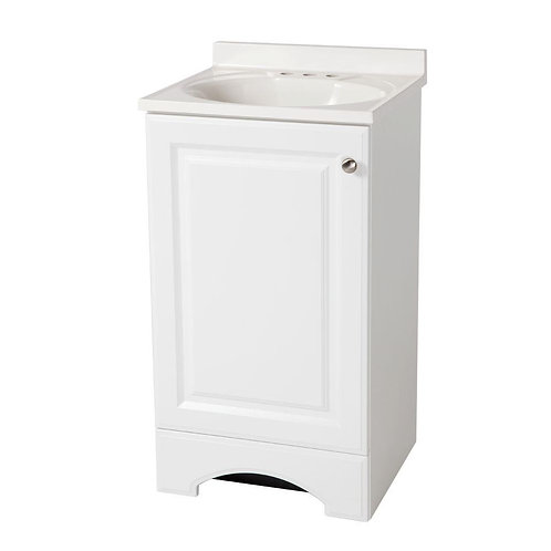 Glacier Bay 18-1/2 in. W Vanity in White with Cultured Marble Vanity Top in Whit