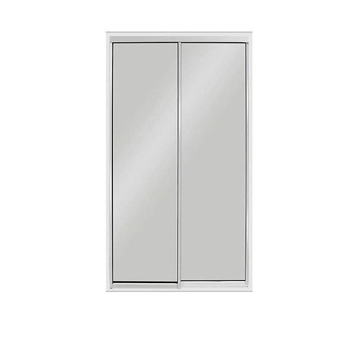 72 in. x 96 in. Aluminum White Mirror Sliding Door