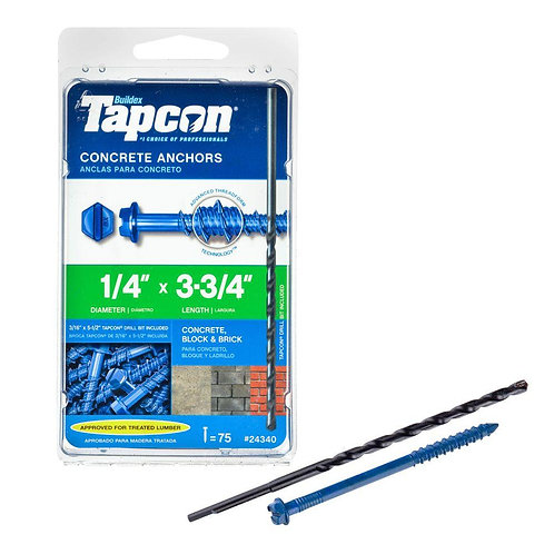 Tapcon 1/4 in. x 3-3/4 in. Hex-Washer-Head Concrete Anchors (75-Pack)