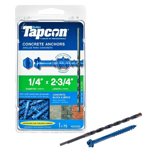 Tapcon 1/4 in. x 2-3/4 in. Hex-Washer-Head Concrete Anchors (75-Pack)