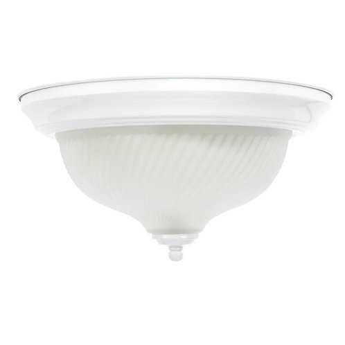 Hampton Bay 11 in. 2-Light White Flush Mount with Frosted Swirl Glass Shade