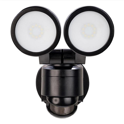 180° Black Motion Activated Outdoor Integrated LED Twin Head Flood Light