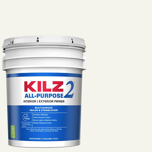 KILZ2 ALL PURPOSE 5 Gal. White Interior/Exterior Multi-Surface Primer, Sealer, a