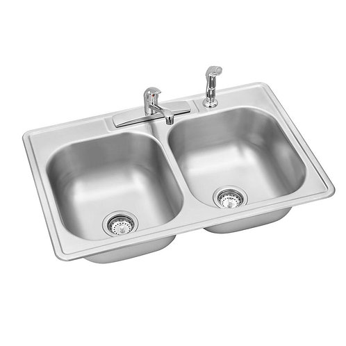 Swift Install All-in-One Drop-In Stainless Steel 33 in. 4-Hole Double Bowl Kitch