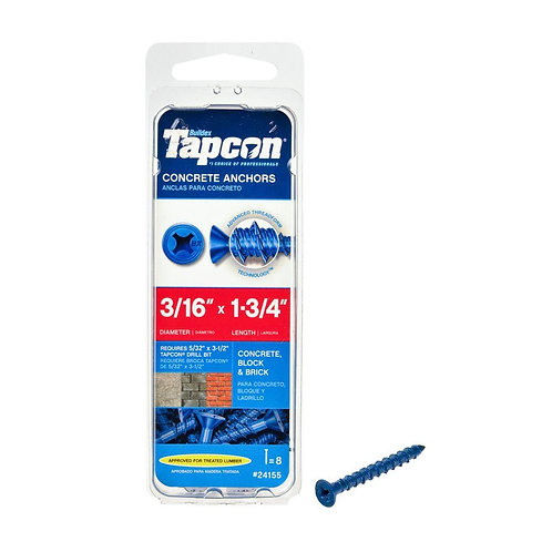 Tapcon 3/16 in. x 1-3/4 in. Phillips Flat-Head Concrete Anchors (8-Pack)