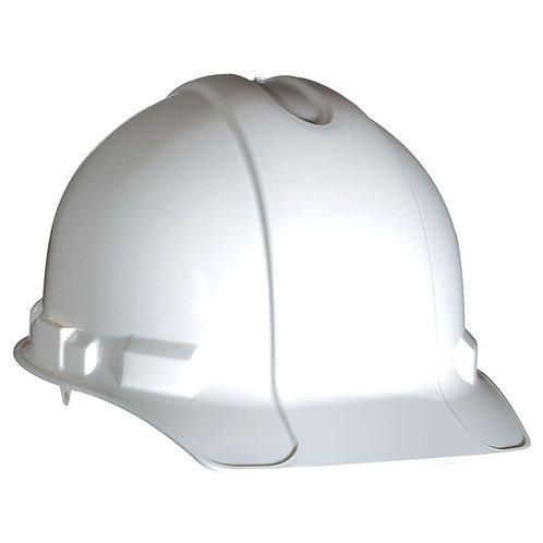 White Non-Vented Hard Hat with Ratchet Adjustment