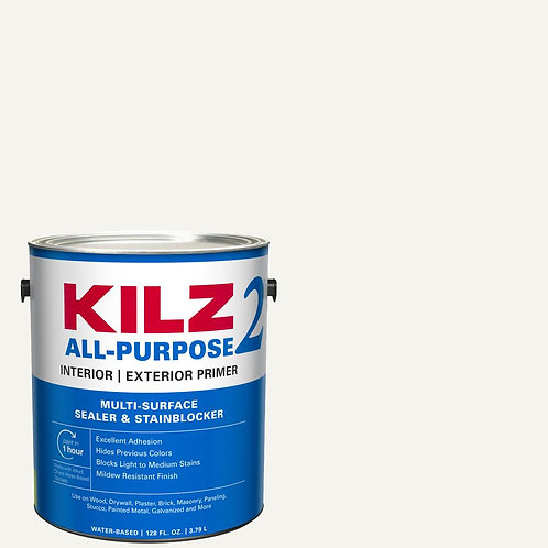 KILZ 2 ALL PURPOSE 1 Gal. White Interior/Exterior Multi-Surface Primer, Sealer,