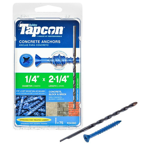 Tapcon 1/4 in. x 2-1/4 in. Phillips-Flat-Head Concrete Anchors (75-Pack)