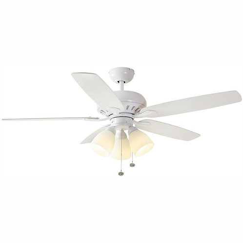 Rockport 52 in. LED Matte White Ceiling Fan with Light Kit