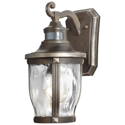 1-Light Bronze with Gold Highlights Outdoor Motion Sensor Wall Lantern Sconce