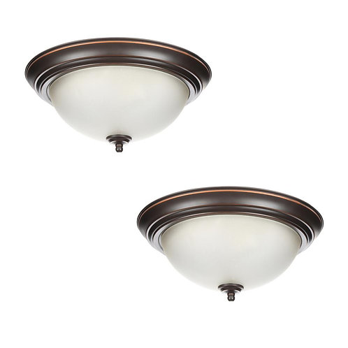 Commercial Electric 13 in. 2-Light Oil Rubbed Bronze Flush Mount with Frosted Gl