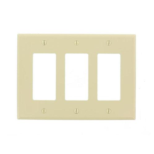 Leviton Decora 3-Gang Midway Nylon Decorator/Rocker Wall Plate - Ivory