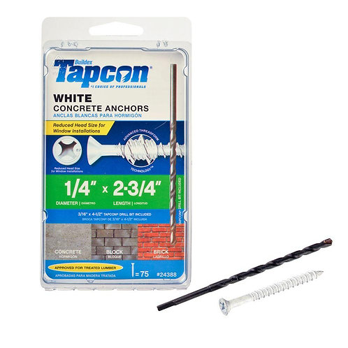 Tapcon 1/4 in. x 2-3/4 in. White UltraShield Phillips Flat-Head Concrete Anchors