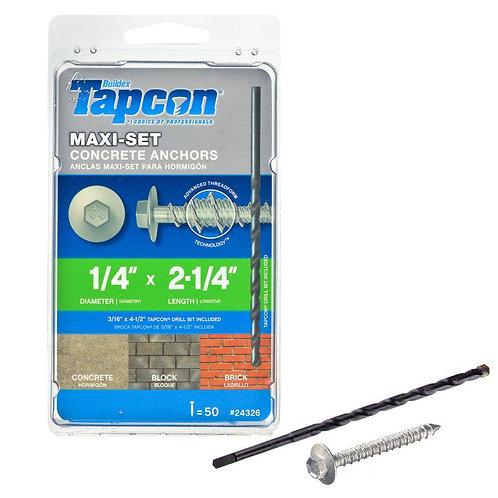 Tapcon 1/4 in. x 2-1/4 in. Maxi-Set Hex-Head Concrete Anchors (50-Pack)