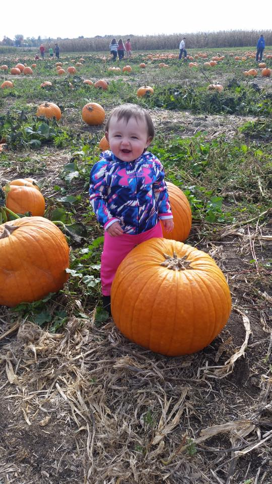 Young child posing in pumpkin patch