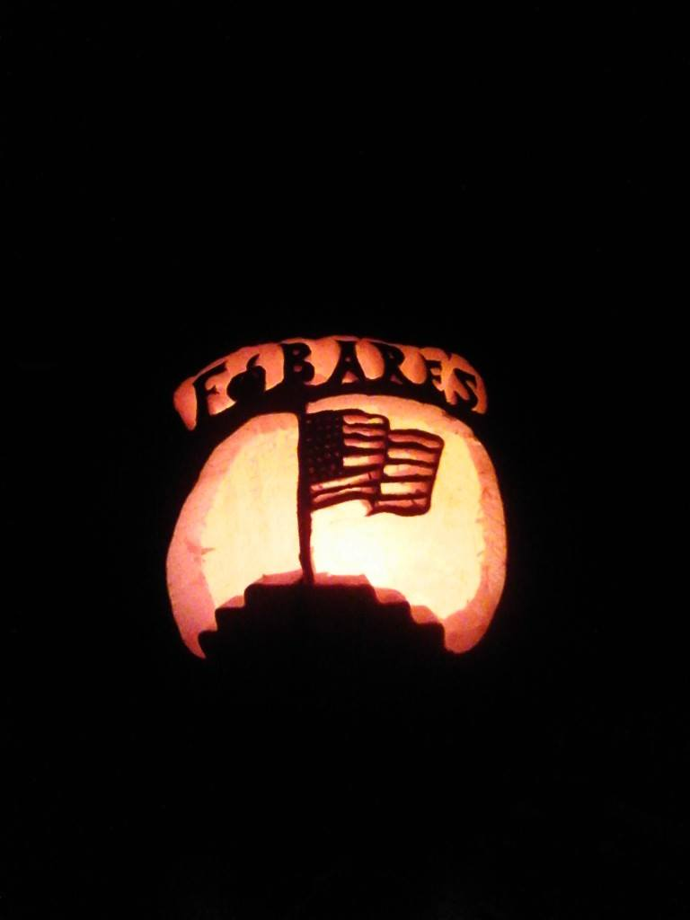 Pumpkin carved and lit for Halloween