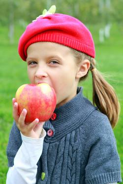 Girl biting into honey crisp apple