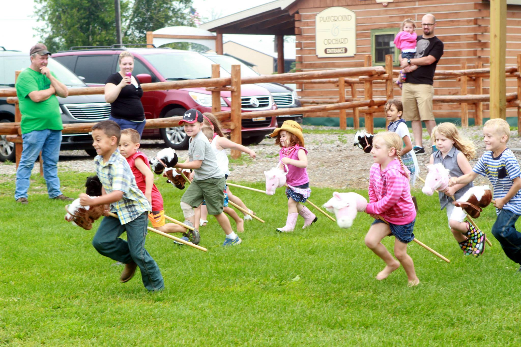 Group of children racing