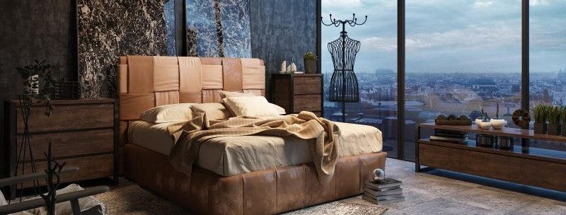 Интерьерная кровать Bernini с корпусом из массива дерева