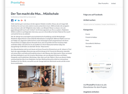 Interview im Blog von ProntoPro