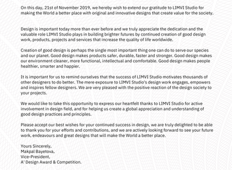 Letter of Recognition from the A' Design Award