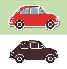 Two cartoon Fiat 500 cars.