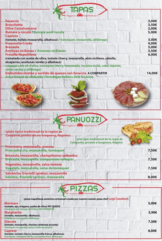 Pummarola menu - NEW - Spanish & Catalan