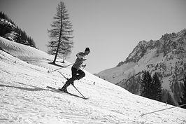 Photographe chamonix ski sport montagne noir et blanc action