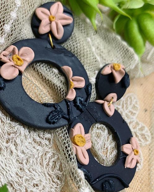 Dark floral hoops