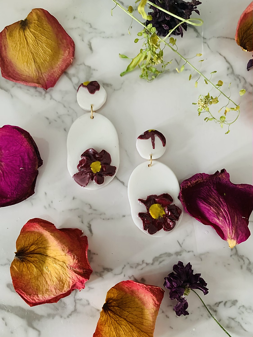 Handcrafted Flower Stud Dangle | Resin Coated