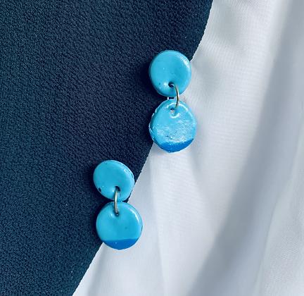 Blue Dipped Dangle Earrings