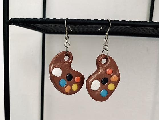 Artist paint palette dangle earrings
