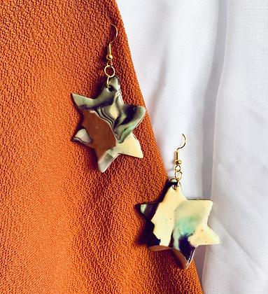Six Point Star Marbled Dangle Earrings