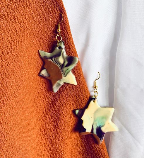 Marbled Star Dangle Earrings